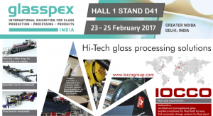 Visit IOCCO stand D41 Glasspex 2017    New Dalhi India 23 - 25 February