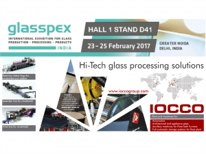 Visit IOCCO stand D41 Glasspex 2017    New Dalhi India 23 - 25 February